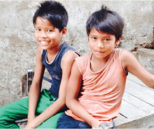 two children in India