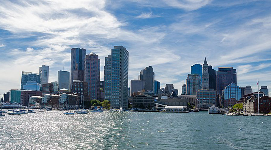 Boston Skyline by Harald Johnsen via Wikimedia Commons