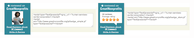 GreatNonprofits - Add badge
