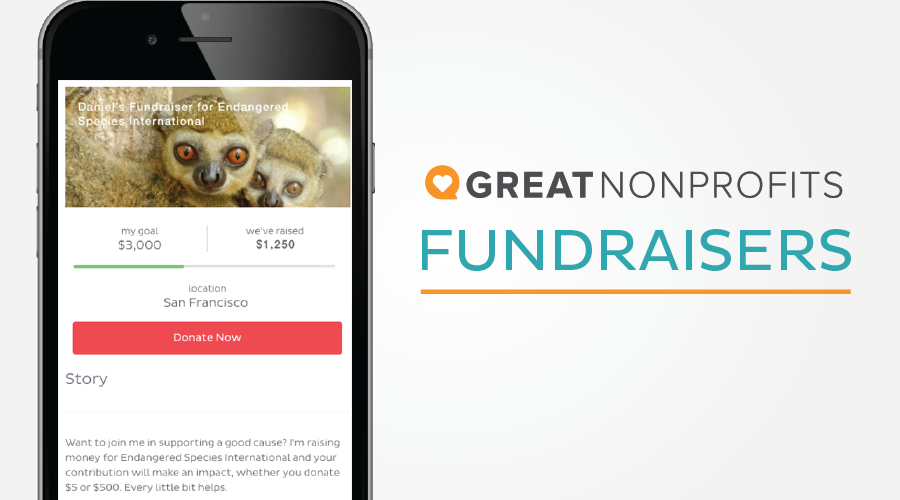 Title GreatNonprofits Fundraisers with a screenshot of a fundraiser for Endangered Species International on a black mobile phone with prominent Donate button