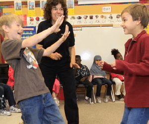 two boys learning self defense