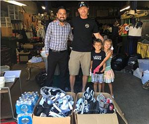 Family prepared a shoe donation box Union Gospel Mission Sacramento