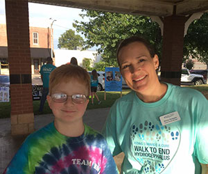 Mom and son at an awareness event Hydrocephalus Association