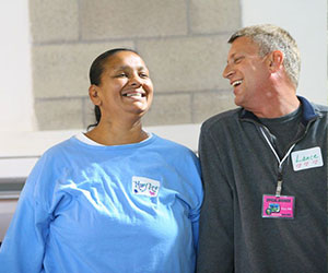 Volunteer and participant smiling The Freedom To Choose Project